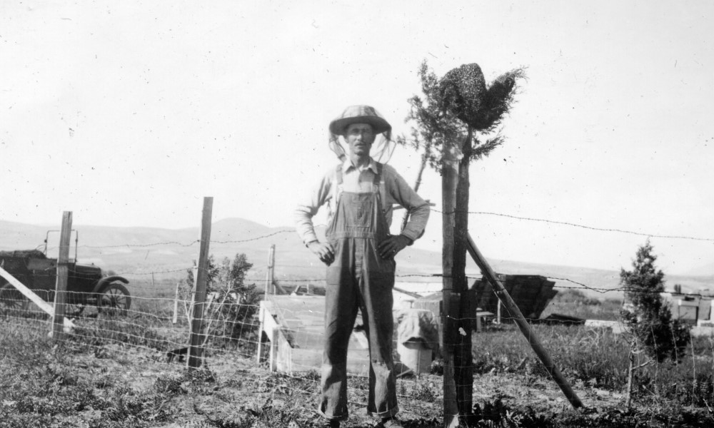 Black and white image of a man wearing bee netting standing beside a beehive on a post